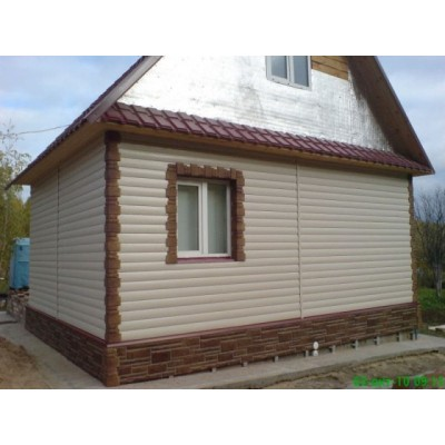 Виниловый сайдинг Альта-Профиль Блок Хаус (Blockhouse) BH3 малый Бежевый