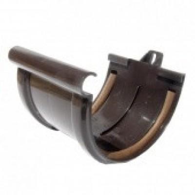 Соединитель желоба ПВХ Murol D130мм с уплотнителем коричневый